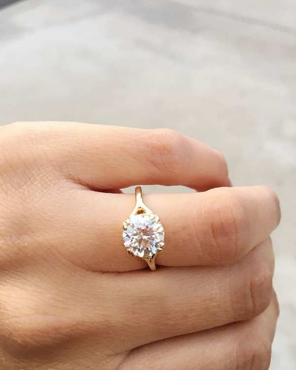 Engagement Solitaire Ring with Gold Split Setting