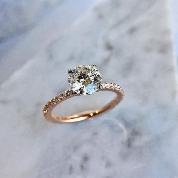 Engagement Ring Solitaire with Pave