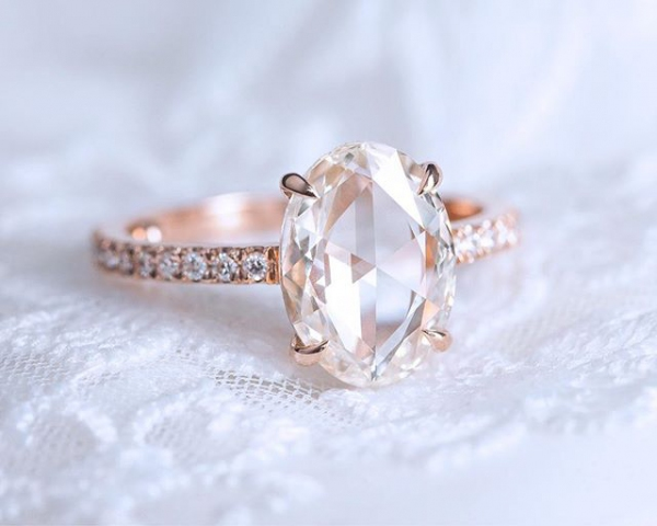 Engagement Ring with Solitaire Setting in Rose Gold