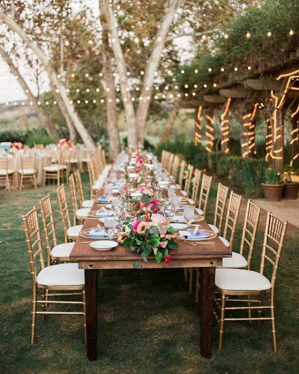 Outdoor Dining with Tablescape and Flowers