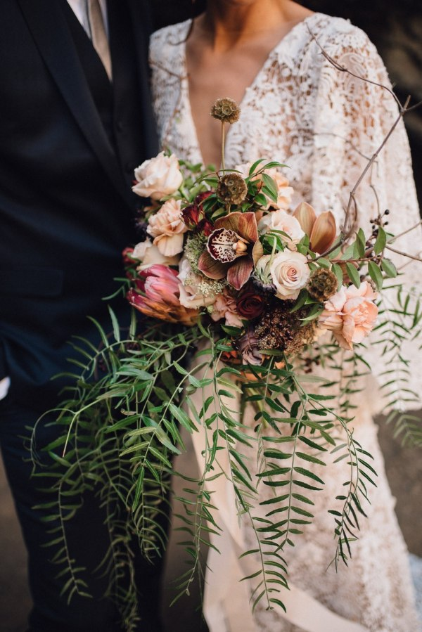 Spring Floral Wedding Bouquet Cascading Style