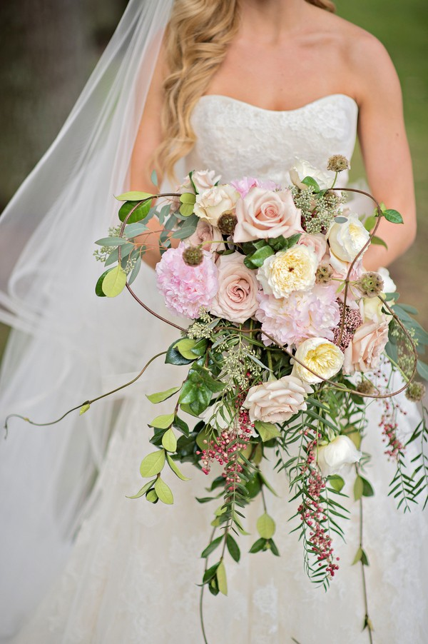 Spring Floral Wedding Bouquet with Cascading Flowers