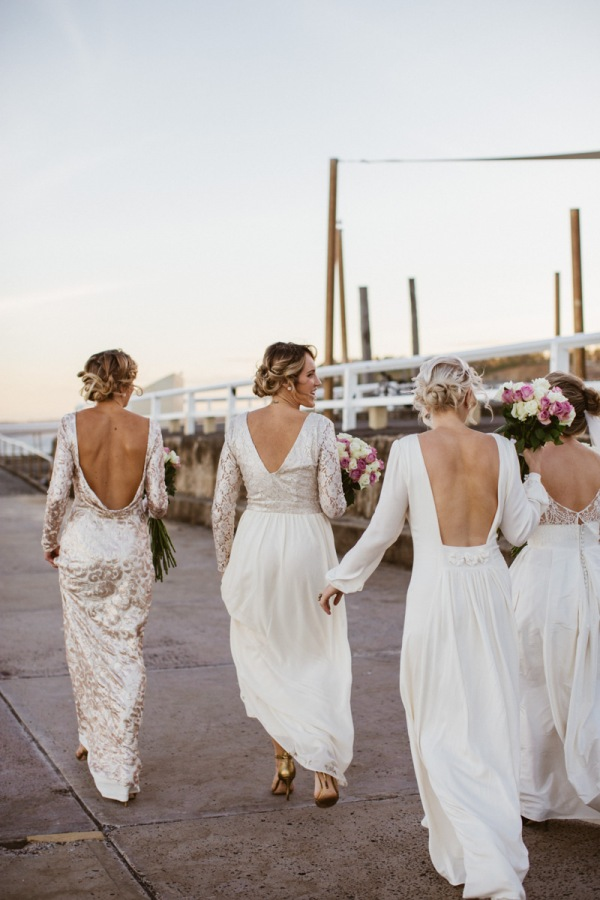Bridesmaids in Long White Gowns
