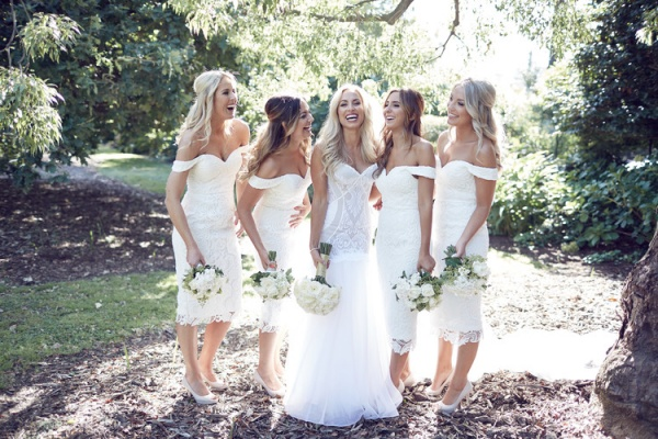 Bride and Bridesmaids All in White