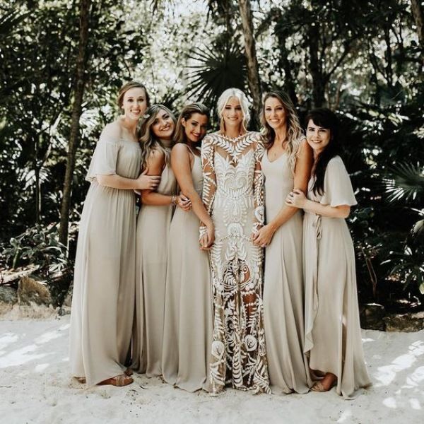 Bride and Bridesmaids in Nude Dresses
