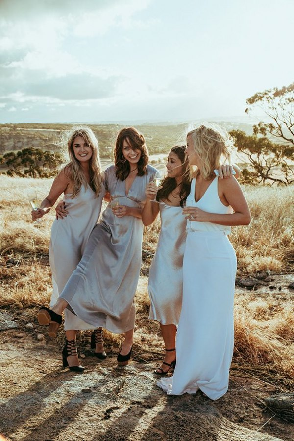 Bride with Bridesmaids and Nude Dresses