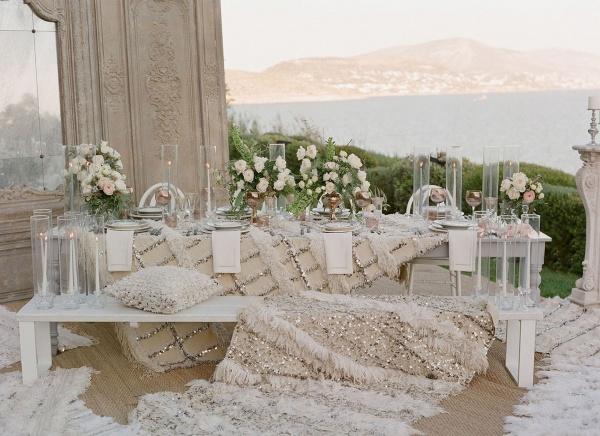Moroccan Wedding Blanket Beach Reception