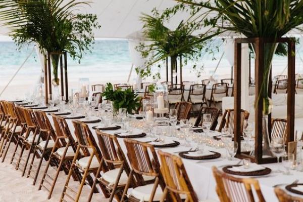 Tropical Beach Wedding Reception Tablescape