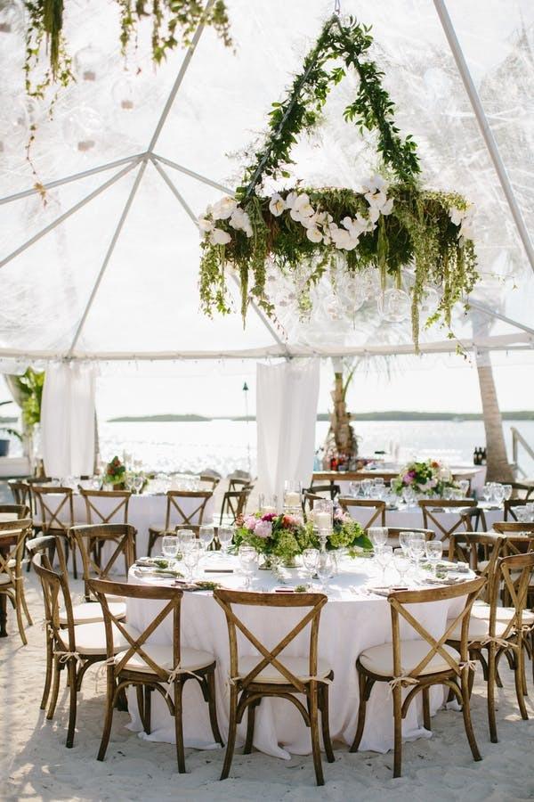 All White Beach Wedding Reception