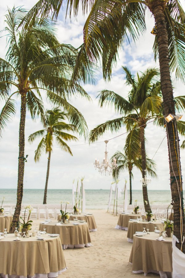 Beach Wedding Reception with Round Tables