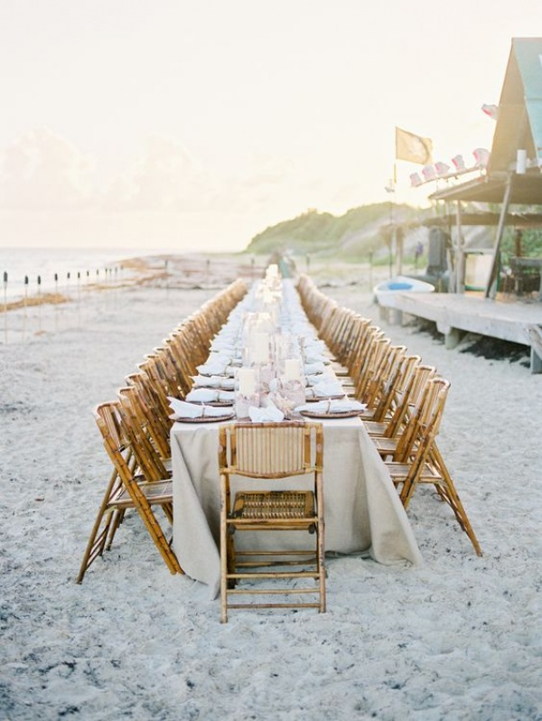 Beach Wedding Reception with Long Table