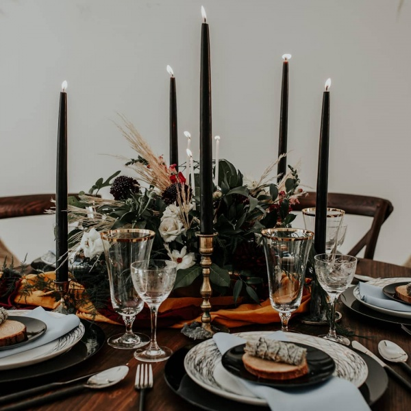 Halloween Inspired Table Setting with Candles