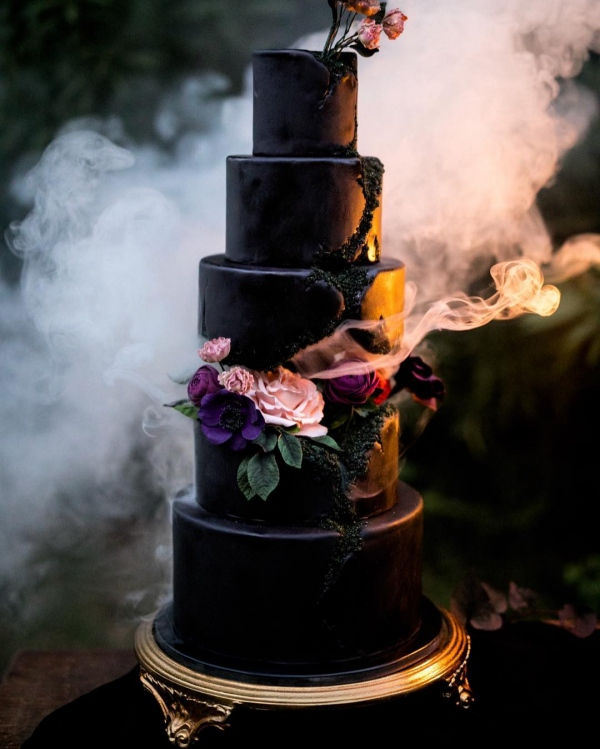 Tall Gothic Inspired Wedding Cake