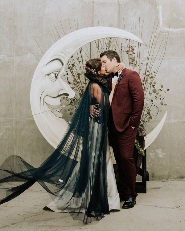 Gothic Inspired Wedding with Moon Backdrop