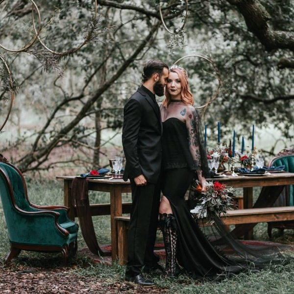Black Gothic Dress with Groom
