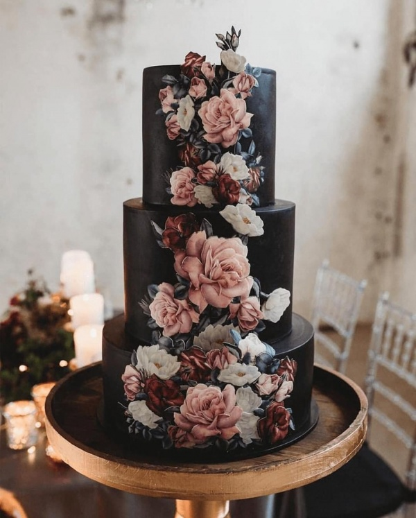 Gothic Wedding Cake with Flowers