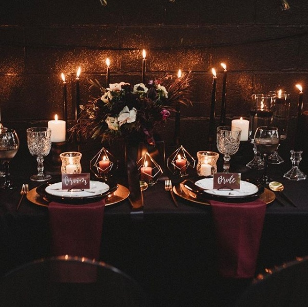 Gothic Wedding Table Setting with Burgandy Accents.jpg