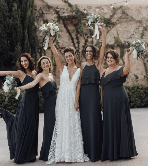 Gothic Inspired Bridesmaid Dresses Long and Black