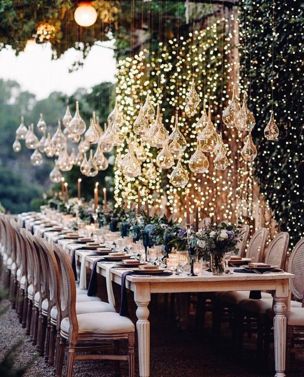 Hanging Lanterns and Table Setting