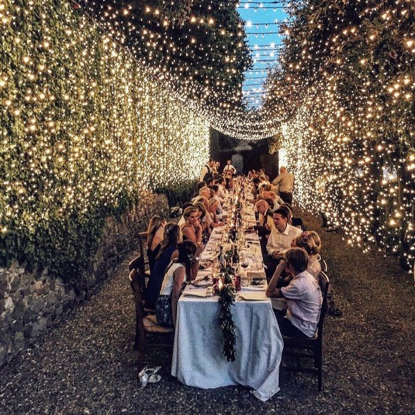 Romantic Table Setting with Hanging Lights