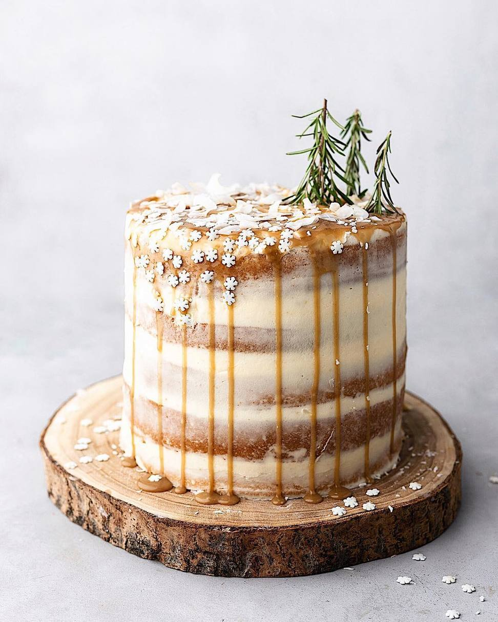 Winter Wedding Cake with Rosemary Trees
