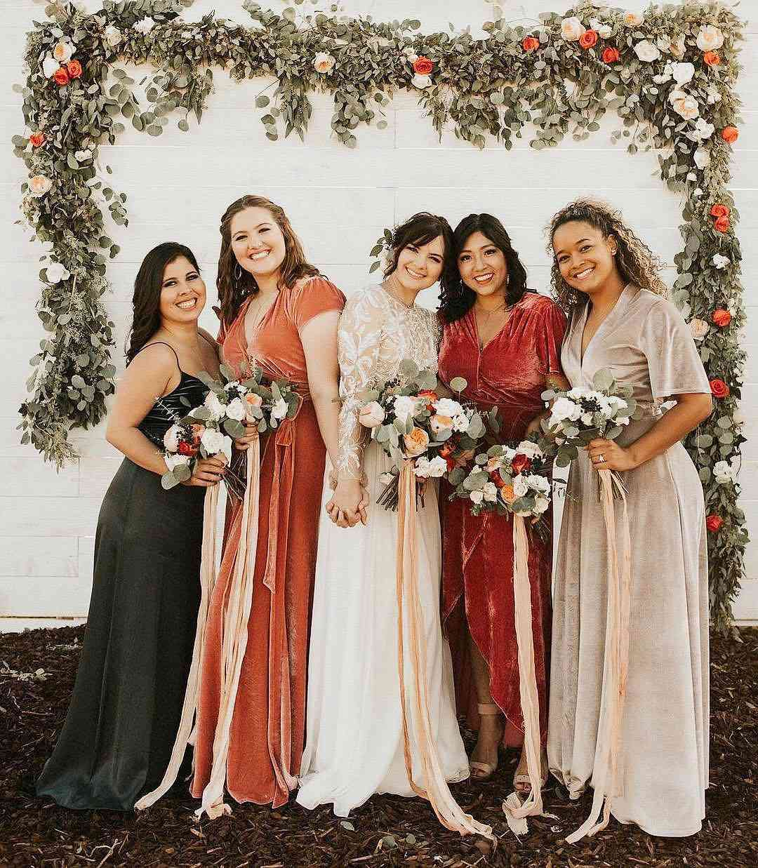 Bright Velvet Bridesmaid Dresses