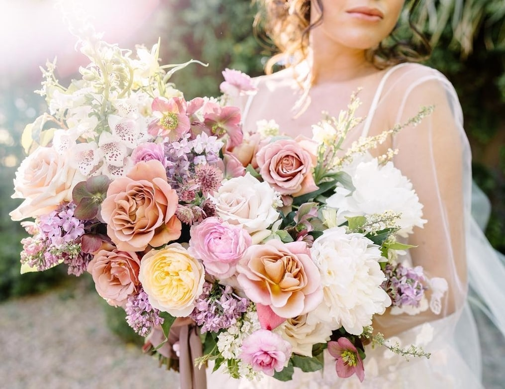 Spring Wedding Bouquet with Bride