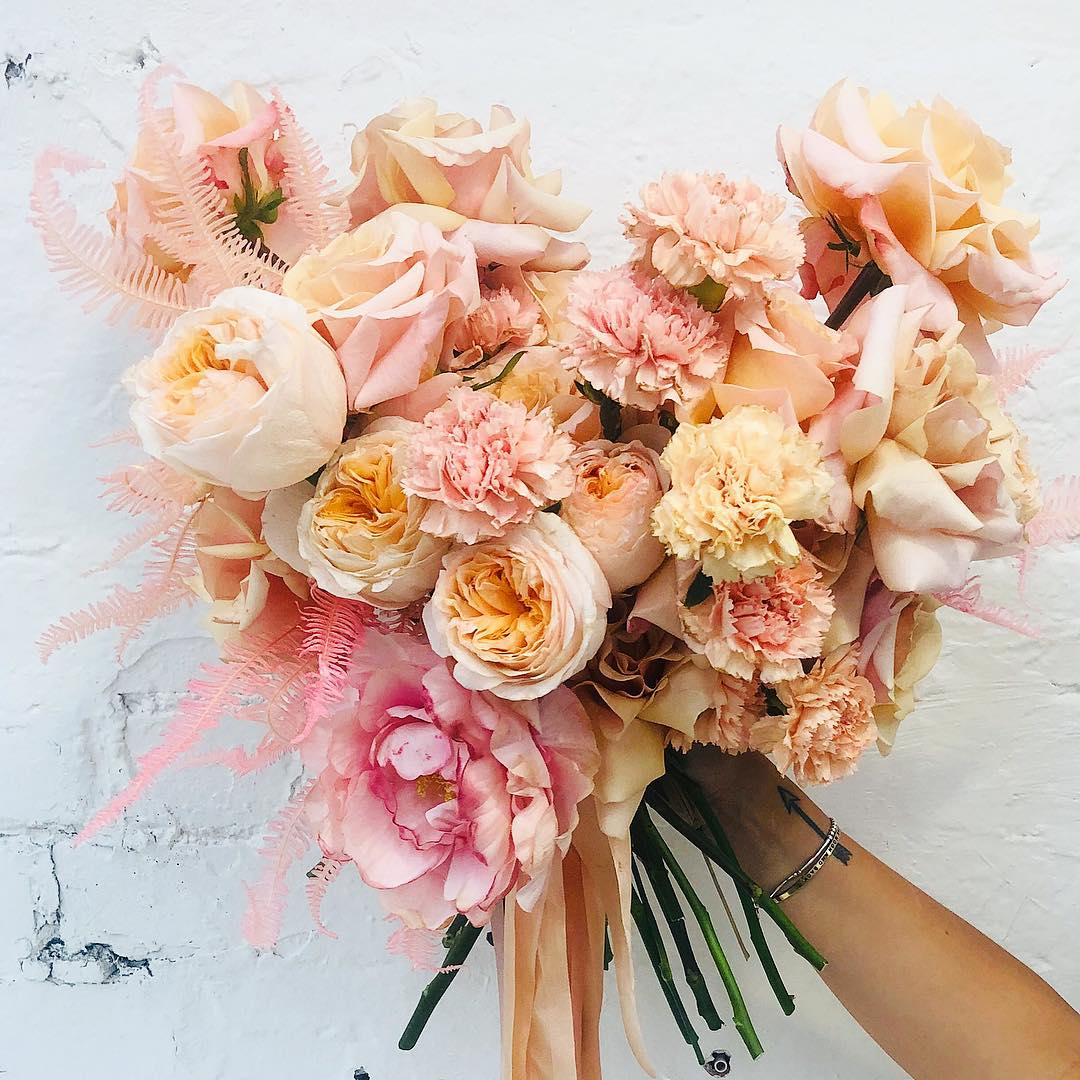 Peach Spring Wedding Bouquet