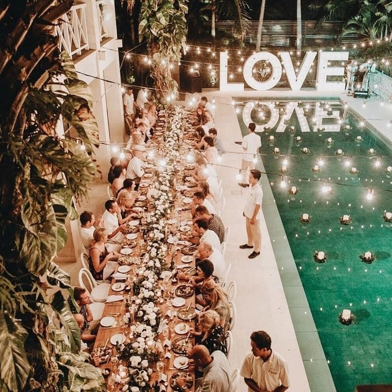 Pool Venue Reception with Love Sign