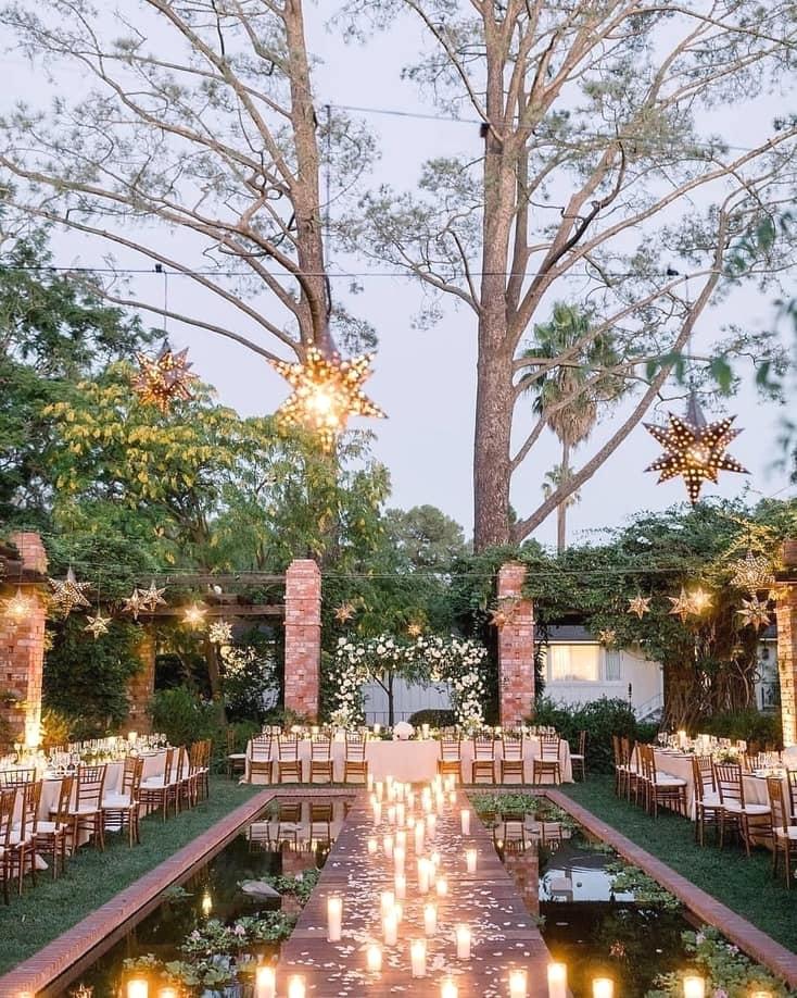 Pool Venue Reception with Lanterns