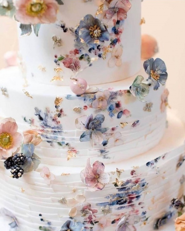 Floral Texture Wedding Cake