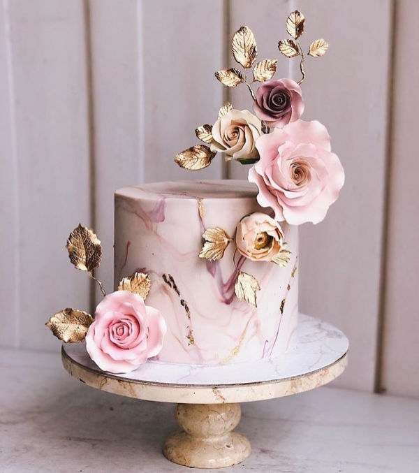 Pink Wedding Cake with Flowers