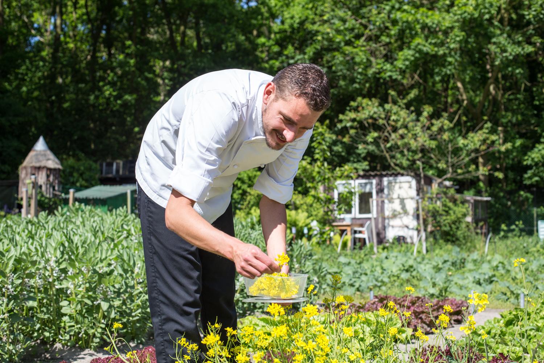 Chefkok Ronald van Roon (restaurant Calla's *) plukt verse bloemen