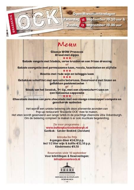 Pop-up restaurant Brasserie Ock Buitenplaats Ockenburgh