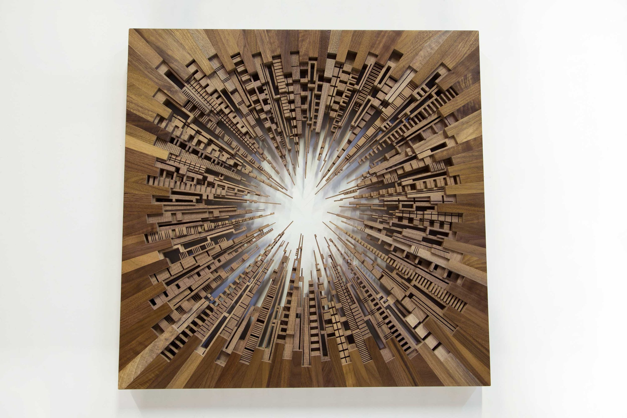"City Square  2016 26"" x 26"" x 1.5"" | American Black Walnut"