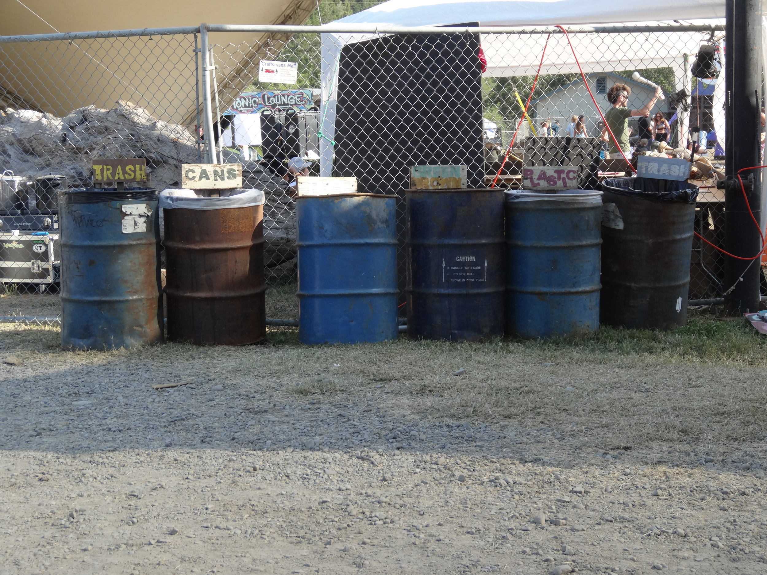 Waste collection points at festivals