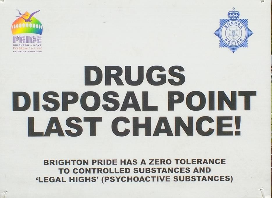 Signs outside the festival area of Brighton Pride 2016