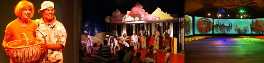 Each of the 4 themed marquees, which form a square around the central big top tent, have their own 15 minute programme, the technical support of which is centrally directed thus ensuring that each group starts and ends at the same time. After 15 minutes, the groups move on to the next marquee, which means that after 1 hour all 4 groups have completed the same programme.