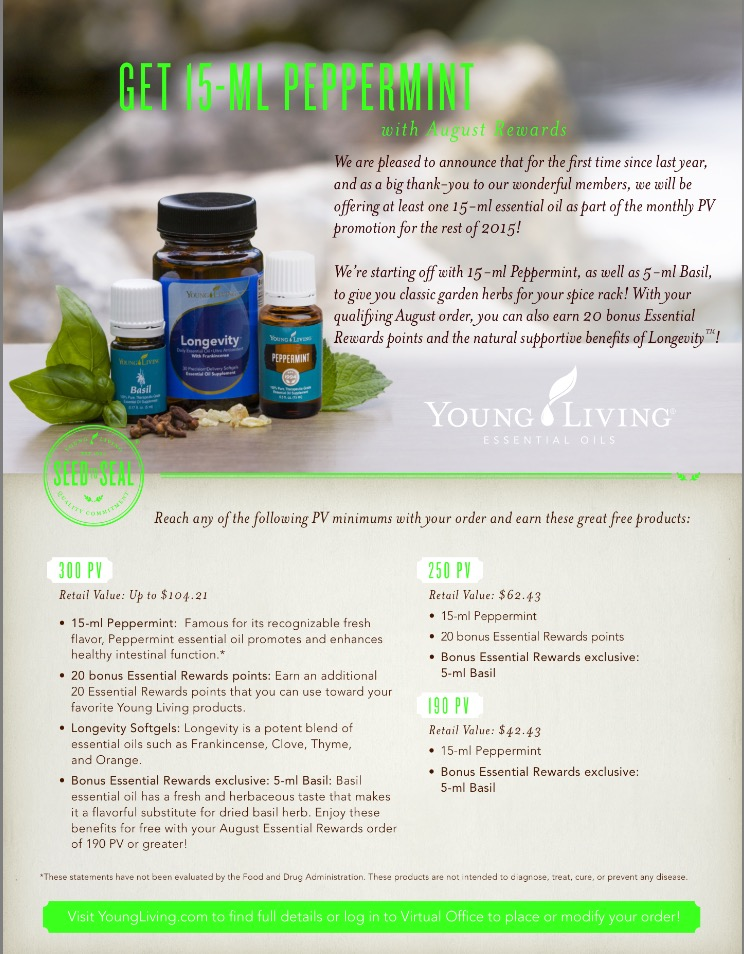 Big Announcement: For the rest of 2015,  you will have the chance to earn at least one 15-ml essential oil as part of the monthly PV promotion! First up: Peppermint.