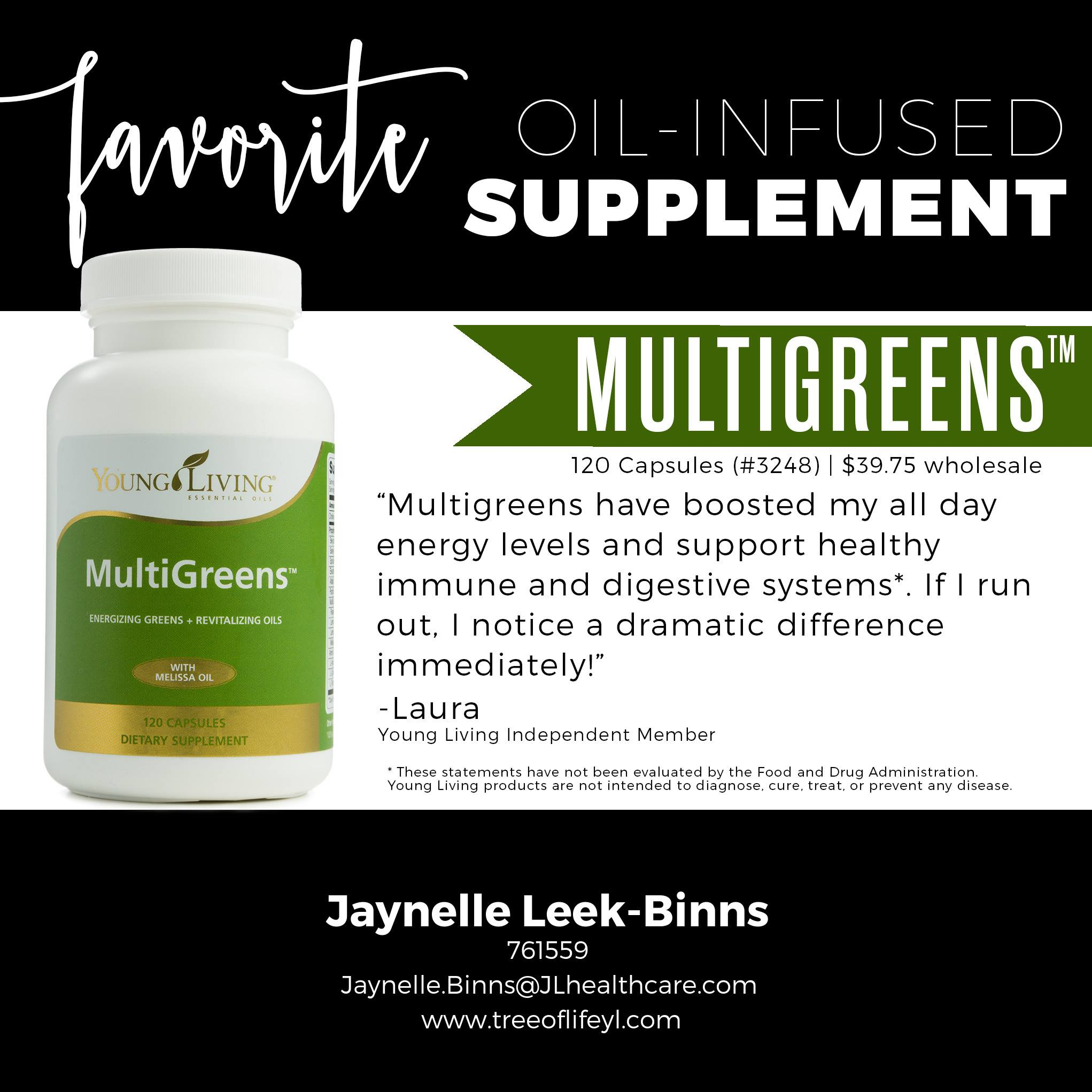 "This combo of ""greens"" and therapeutic-grade essential oils boosts vitality and overall circulatory system."