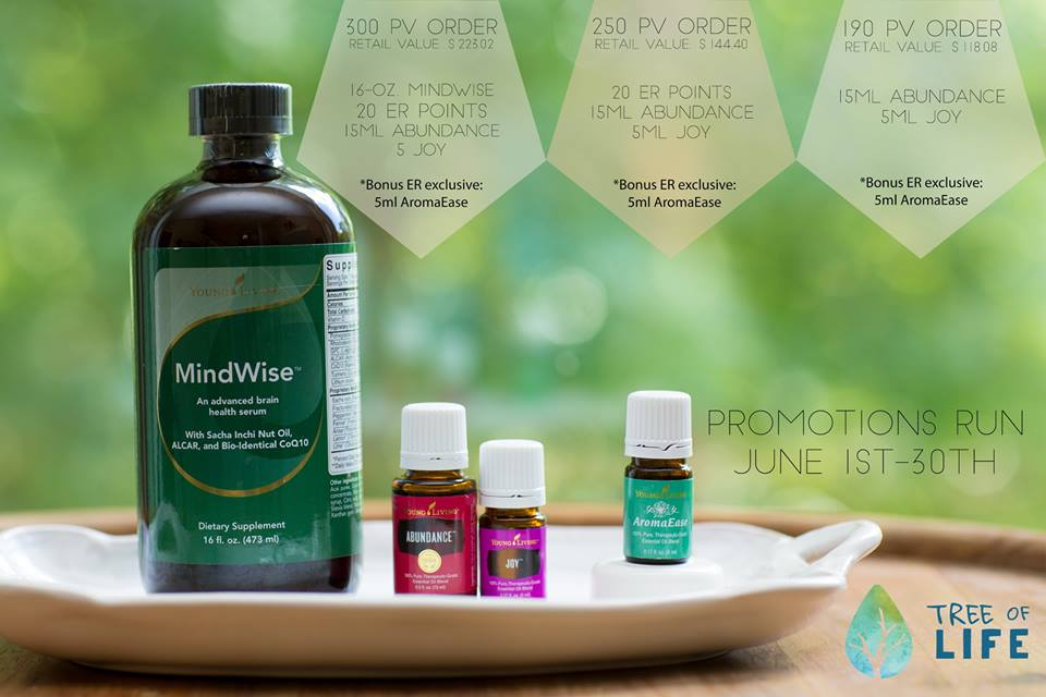 Enjoy summer savings with the 2016 Young Living June Promo! Earn MindWise, Abundance, Joy & AromaEase with your qualifying purchase.