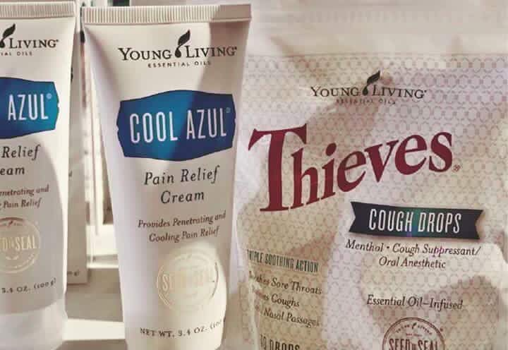Young Living delivers OTC relief with 0 artificial ingredients. Cool Azul Cream tackles minor muscle aches, while Thieves Cough Drops soothe sore throats, coughs and irritated nasal passages.