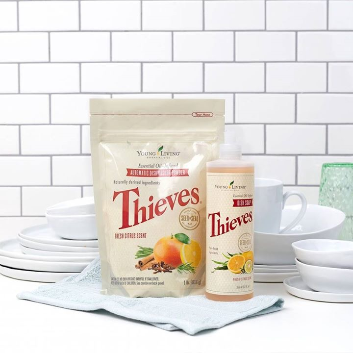 Sparkling dishes are just 1 TB of Thieves Dishwasher Powder away!
