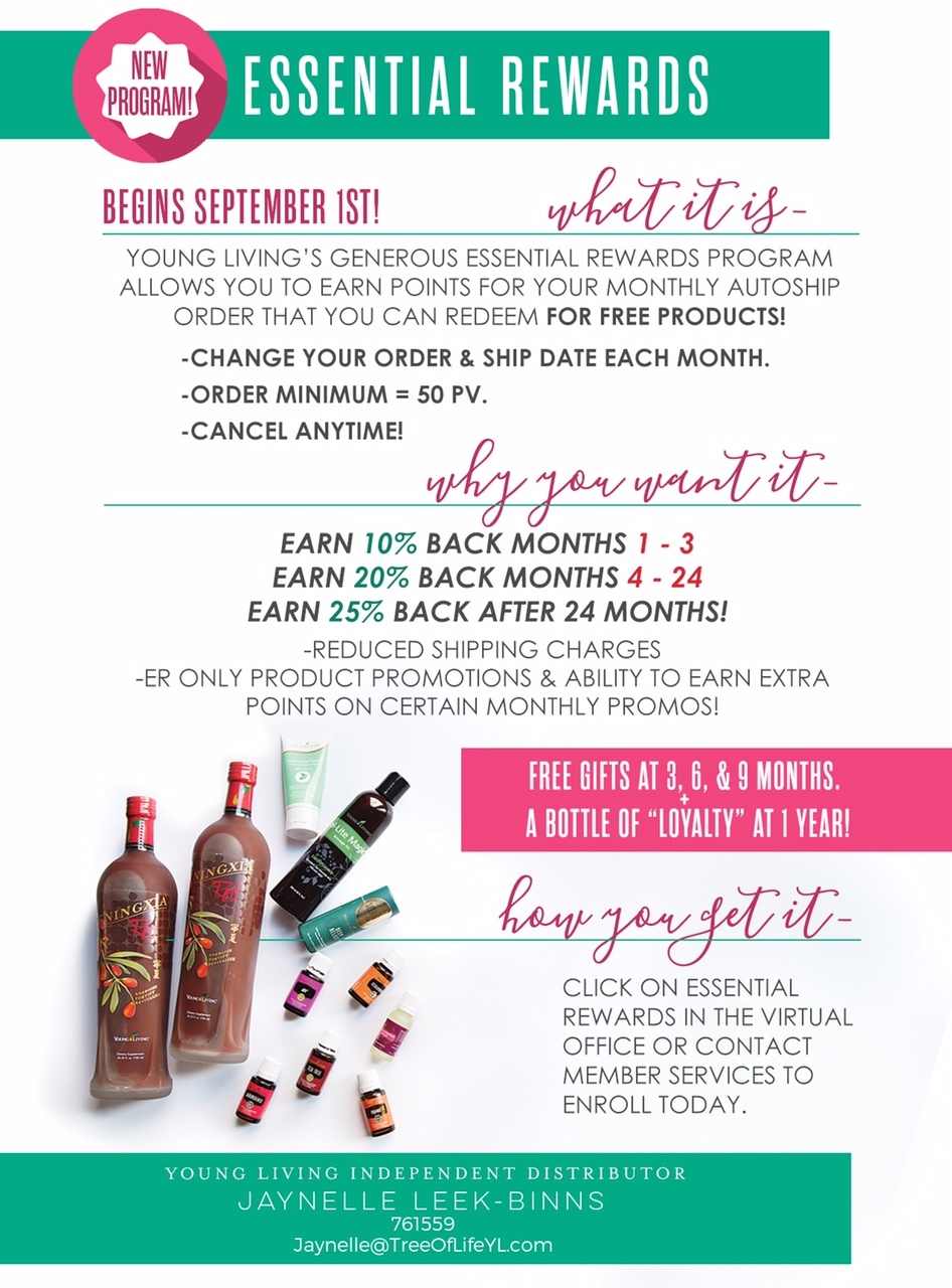 Earn more points toward the products you love by buying the products you love with Young Living's enhanced Essential Rewards program. (Better than ever on September 1st).