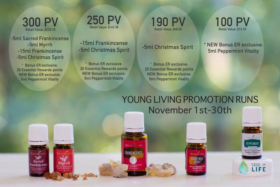Lots of reasons to be thankful for a wonderful November promo: 5-ml Sacred Frankincense, 5-ml Myrrh, 15-ml Frankincense, and 5-ml Christmas Spirit™; Bonus Essential Rewards exclusive: 20 Essential Rewards points and Peppermint Vitality to be exact.