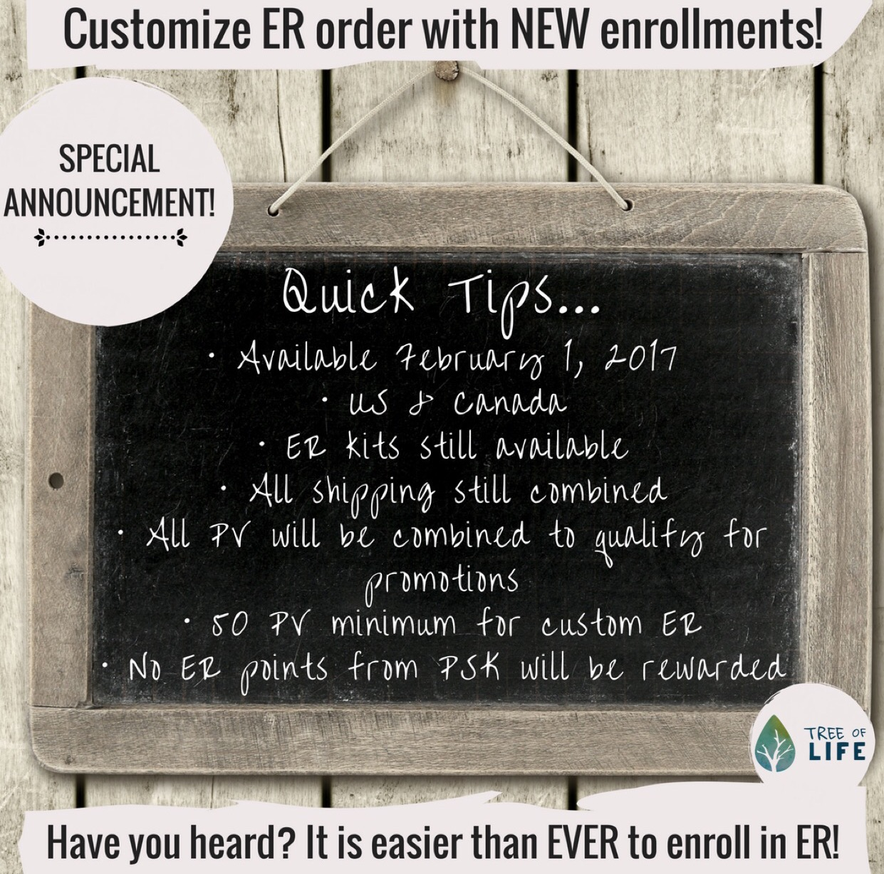 Awesome Update: New Members can order their Premium Starter Kit AND enroll in ER with a custom order. AND earn points toward that month's promo. AND save on shipping. Hello, streamlined process.