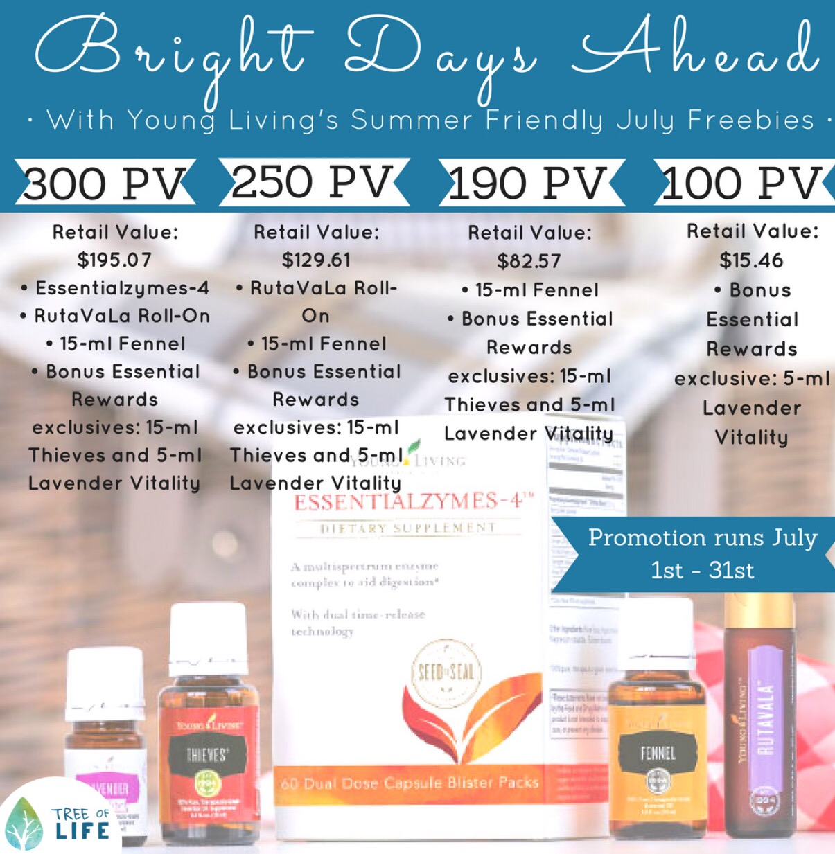 Check on the Summer Savings in the Young Living July Promo. Find out how to earn Lavender Vitality, Thieves, Fennel, RutaVaLa roll-on and Essentialzymes-4.