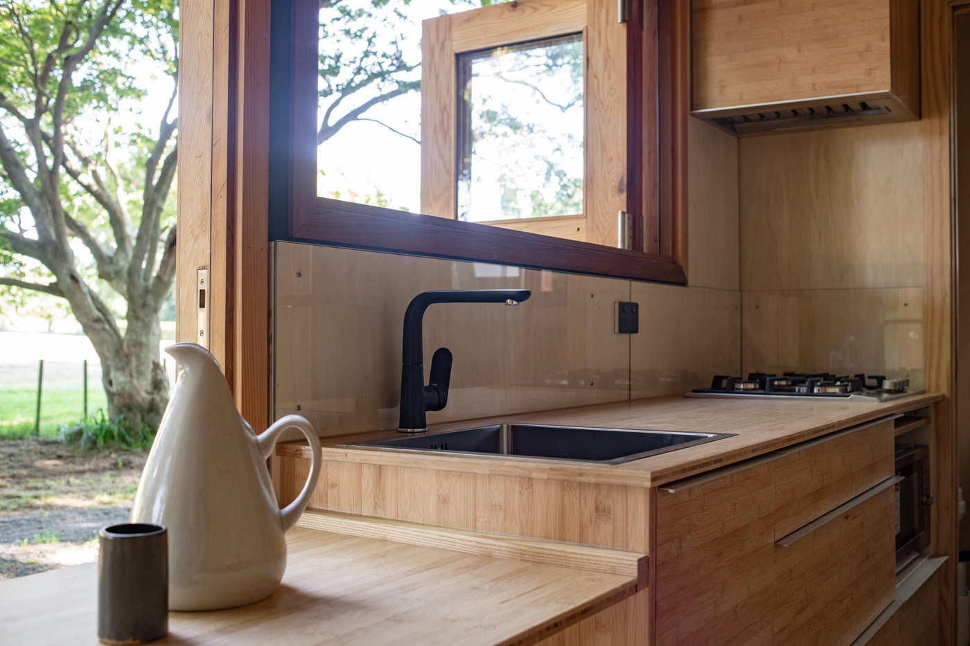 Tiny house interior photography in Hawkes Bay NZ