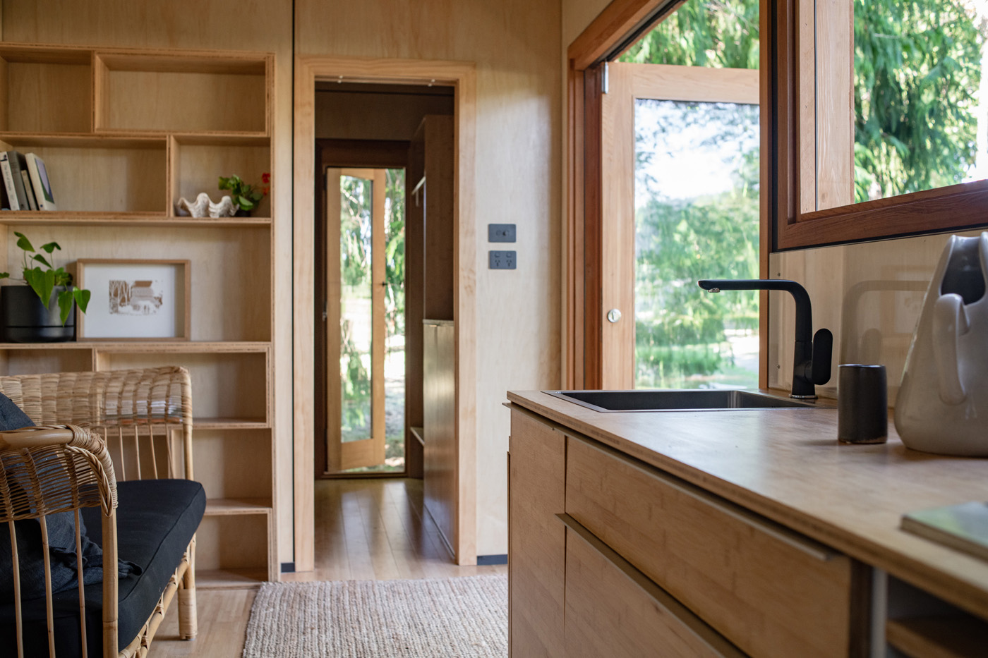 Interior shot of a tiny house in Hawkes Bay NZ