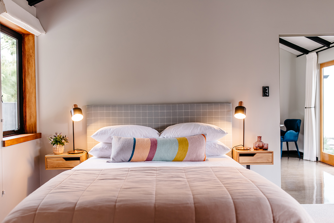 Florence Charvin professional photography of romantic modern bedroom in cottage in Hawkes Bay, New Zealand